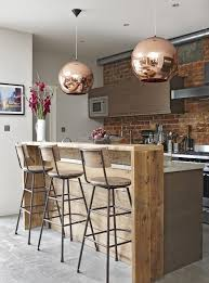 Modern Kitchen Island Stools - smart industrial style breakfast bar with copper touches