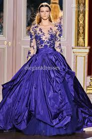 designer dresses royal blue v neck taffeta lace designer applique zuhair evening
