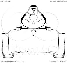 banner coloring pages cartoon clipart of a black and white happy nun over a banner