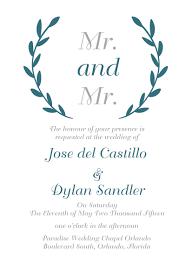 wedding invitations orlando sle lgbt wedding invitations mr mr laurel leaves