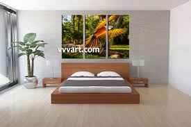 Bedroom Wall Decorations Modern 3 Piece Colorful Parrot Canvas Art