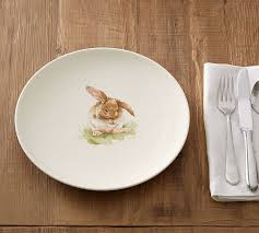 rabbit dish set pasture bunny dinner plate set of 4 pottery barn