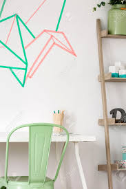 Washi Tape Wall Designs by Study Area With White Desk Pastel Chair Simple Regale And Washi