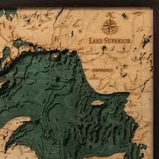 Lake Superior Map Lake Superior Wood Map 3d Nautical Topographic Chart Framed Art