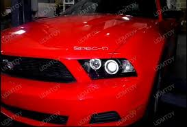 mustang projector headlights 10 11 ford mustang chrome dual halo rings projector led headlights