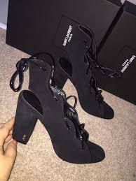 3a ysl heels black suede sandals shoes shoes190 135 00
