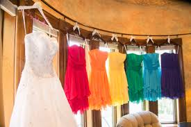 rainbow bridesmaid dresses from david u0027s bridal with hangers with