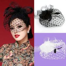 feather hair clip girl fascinator wedding party veil feather hair clip hat mesh