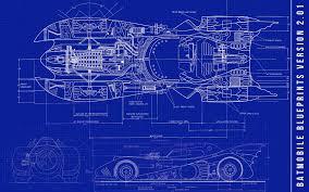 3d batman batmobile blue blueprints dc comics walldevil