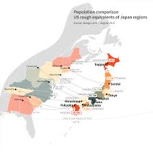 map us japan population comparison us equivalents of japan regions