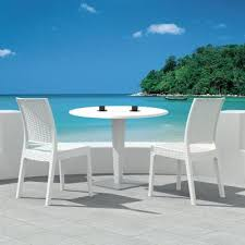 Resin Bistro Chairs Florida Wickerlook Outdoor Resin Bistro Set White With Table