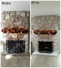 White Washed Stone Fireplace Life by Diy Painted Stone Fireplace Hometalk