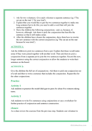conjunctions lesson plan worksheet free esl printable worksheets