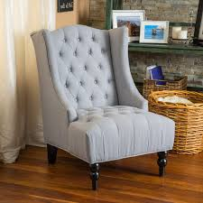 Tufted Accent Chair Clarice Tufted Fabric Silver Tall Wingback Accent Chair