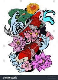 koi carp tattoo images beautiful line art koi carp tattoo stock vector 676696330