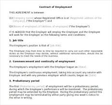 contract employee agreement contract of employment agreement