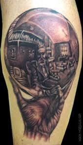 an optical illusion tattoo of mc escher drawing his own reflection