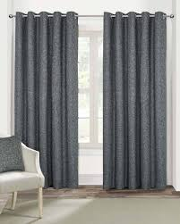 Heavy Grey Curtains Grey Heavy Boucle Textured Blackout Lined Eyelet Curtain Pair