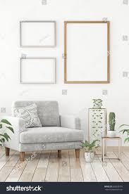interior poster mock three frames composition stock illustration