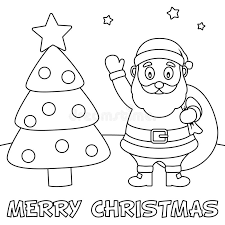 coloring christmas card with santa claus stock vector image