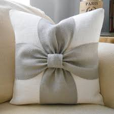 burlap bow pillow cover in grey and off white burlap 18x18
