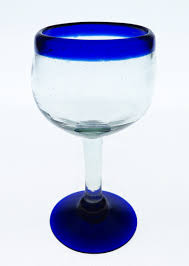 wine glasses hand blown blue rim 14oz with 56oz straight pitcher
