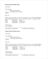 Transfer Request Letter In Bank salary transfer letter template 5 free word pdf format