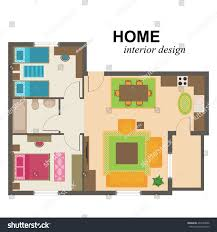 home interior plan home interior design illustration living room stock vector