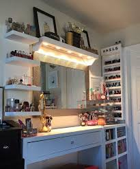 Small Vanity Lights Vanity And Makeup Storage Ideas I Like The Lights Shining Down