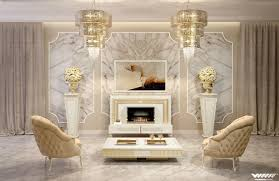delighful art deco living room with cement fireplace high ceiling