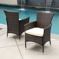 dining chair outdoor wicker dining chair with cushion set of 2