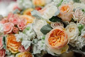 wedding flowers cities garden roses peachy pink dusty miller minneapolis cities