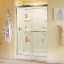 48 Shower Doors Delta Simplicity 48 In X 70 In Semi Frameless Sliding Shower