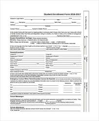 enrollment form template word registration form template 9 free