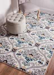 ogee waves geometric lattice floral area rug soft tones grey gold