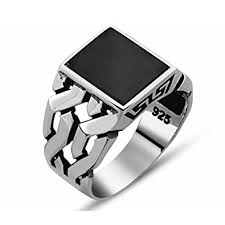 mens stone rings images Mens silver ring with black onyx stone in 925 silver turkish jpg