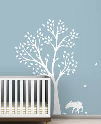 White Tree Wall Decal For Nursery Monochromatic Fawn Tree Wall Decals White Tree Decals For