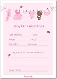 advice cards for 30 baby shower prediction and advice cards for the baby girl