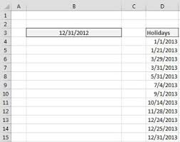 holidays for dummies how to generate a list of business days in excel dummies