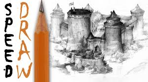 how to draw a castle speed drawing youtube