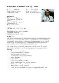 Production Supervisor Job Description For Resume by Norzam Resume