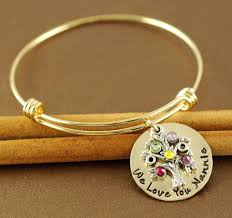 personalized bangle bracelets personalized family birthstone tree bangle bracelet gold or silver