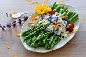 Salad With Edible Flowers - green asparagus goat cheese and flowers with an orange
