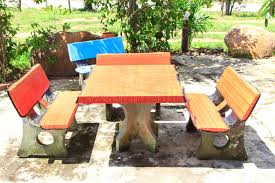 cement table and chairs table and chair cement stock photo image of outdoors 73690432