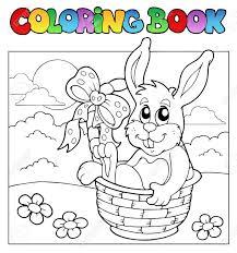 coloring book bunny basket royalty free cliparts vectors