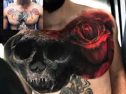 chest cover up skull and covering tattoos