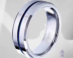 thin blue line wedding band thin blue line ring etsy