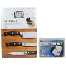 chicago cutlery insignia2 18pc knife set u0026 first aid kit helton