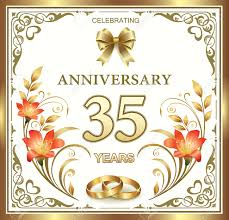 35 wedding anniversary 35 wedding anniversary with rings and lilies royalty free cliparts