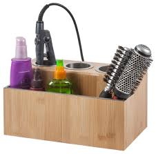 hair and makeup organizer eco friendly bamboo hair styling station contemporary bathroom